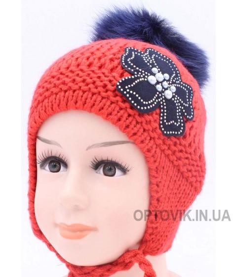 Детская вязаная шапка Незабудка