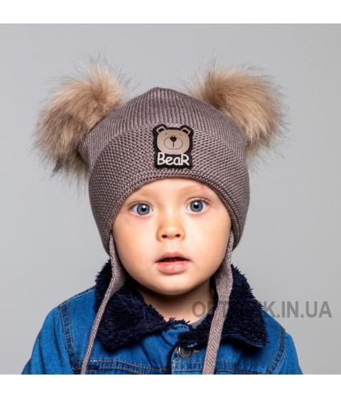 Детская вязаная шапка Тедди D72135-44-48